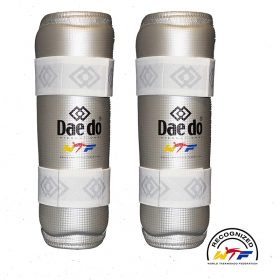 Daedo-Schienbeinschutz-WTF-Silver-Fit,-Gr.-S—XL