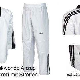 Adidas Taekwondo Anzug Adi Flex Profi mit Streifen, Größen: 170 – 210 cm