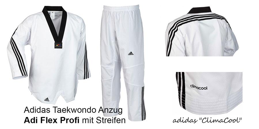 Adidas Taekwondo Anzug Adi Flex Profi mit Streifen, Größen: 170 - 210 cm