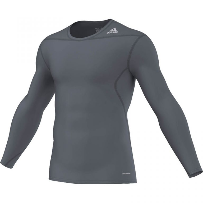 Adidas-Techfit-Base-Long-Sleeve-Blei-Grau,-Gr.-XS---3XL