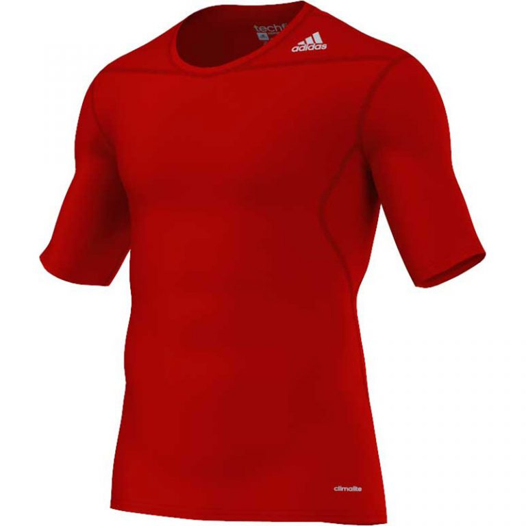 Adidas-Techfit-Base-Short-Sleeve-red,-Gr.-XS---2XL