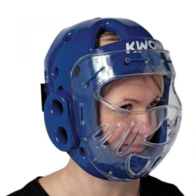 Kwon-KSL-Kopfschutz-blau-mit-Visier Bitte bei Bestellung eine Nummer größer bestellen. Der Kopfschutz fällt etwas kleiner aus.