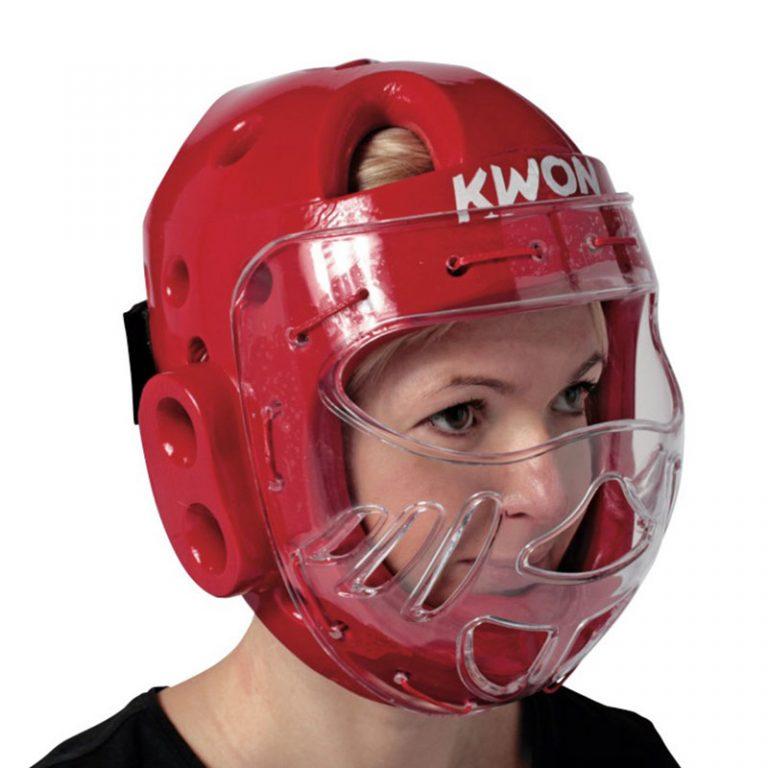 Kwon-KSL-Kopfschutz-rot-mit-Visier / Bitte bei Bestellung eine Nummer größer bestellen. Der Kopfschutz fällt etwas kleiner aus.