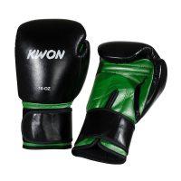 Kwon-Boxhandschuh-Knocking-schwarz-grün,-Gr.-10-+-12oz.